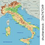 high detailed italy physical... | Shutterstock .eps vector #256747249