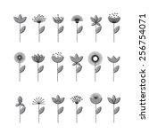 set of vectorized flowers | Shutterstock .eps vector #256754071