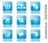 seo internet sign square vector ... | Shutterstock .eps vector #256755334