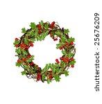 wreath with red berries | Shutterstock . vector #25676209