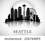 Seattle City Skyline. Vector...