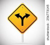 junction road sign   separation ... | Shutterstock .eps vector #256773145