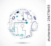 abstract technology globe on... | Shutterstock .eps vector #256778455