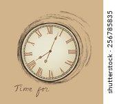 clock concept in retro style.... | Shutterstock .eps vector #256785835