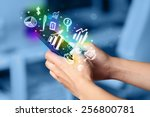 smartphone with finance and... | Shutterstock . vector #256800781