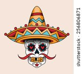 mexican sugar scull in sombrero.... | Shutterstock .eps vector #256806871