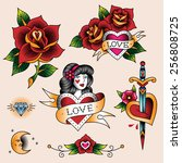 set of  romantic tattoos in... | Shutterstock .eps vector #256808725