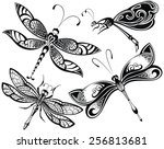 Stock vector dragonfly set 256813681