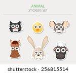 animal stickers. vector... | Shutterstock .eps vector #256815514