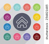 home outline circle  flat icons ... | Shutterstock . vector #256821685