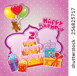 baby birthday card with teddy... | Shutterstock .eps vector #256825717