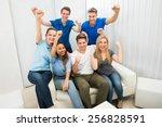 group of multiethnic friends... | Shutterstock . vector #256828591