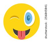happy winking emoticon with... | Shutterstock .eps vector #256845841