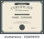 vector certificate template. | Shutterstock .eps vector #256858555