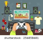 vector flat game illustration | Shutterstock .eps vector #256858681