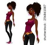 young african american girl in...   Shutterstock .eps vector #256861087