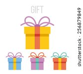 vector gift icons set. isolated ... | Shutterstock .eps vector #256879849
