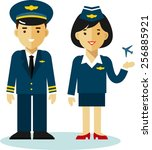 pilot and stewardess in uniform ... | Shutterstock .eps vector #256885921