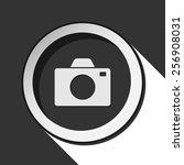 vector grey button with camera