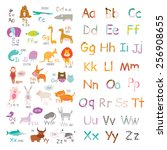 cute vector zoo alphabet with... | Shutterstock .eps vector #256908655