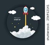 vector image of rocket flying... | Shutterstock .eps vector #256912141