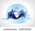 mountain with gentians logo   Shutterstock .eps vector #256915621
