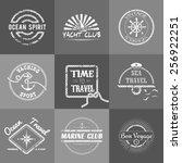 set of nine vintage marine... | Shutterstock .eps vector #256922251