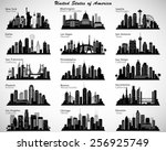 Stock vector usa cities skylines set vector silhouettes 256925749