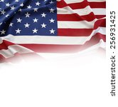 closeup of american flag on...   Shutterstock . vector #256931425