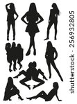 set of posing woman silhouettes | Shutterstock .eps vector #256932805