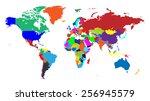 global world map   separable... | Shutterstock .eps vector #256945579