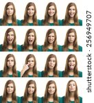 multiple collage of a beautiful ... | Shutterstock . vector #256949707
