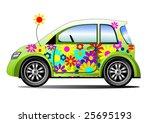 ecology flower power car   Shutterstock .eps vector #25695193