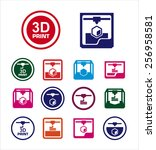 3d print icon set | Shutterstock .eps vector #256958581