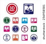 3d print icon set | Shutterstock .eps vector #256958581