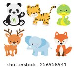 Stock vector vector illustration of cute animal set including panda tiger deer elephant fox and snake 256958941