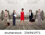 group of business people team... | Shutterstock . vector #256961971