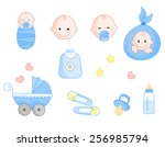 cute baby boy icon collection... | Shutterstock .eps vector #256985794