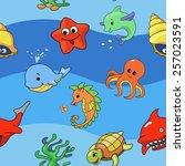 vector sea seamless pattern...   Shutterstock .eps vector #257023591