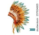 war bonnet watercolor  boho ... | Shutterstock .eps vector #257024005
