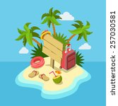 tropic island beach wooden... | Shutterstock .eps vector #257030581