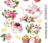 teatime pattern with flowers in ... | Shutterstock . vector #257049217