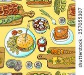 beautiful hand drawn seamless... | Shutterstock .eps vector #257055307