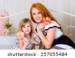 beautiful mother and kid... | Shutterstock . vector #257055484