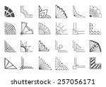 set of 24 hand drawn corners... | Shutterstock .eps vector #257056171