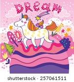 lovely illustration of unicorn...   Shutterstock .eps vector #257061511