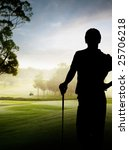 Silhouette Of A Golfer Standing ...