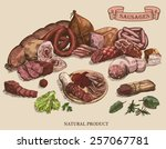 meat products set of hand drawn ... | Shutterstock .eps vector #257067781