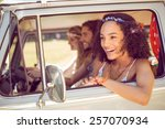 hipster friends on road trip on ... | Shutterstock . vector #257070934
