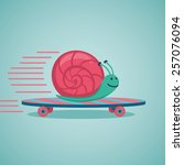 fast snail. snail on a... | Shutterstock .eps vector #257076094
